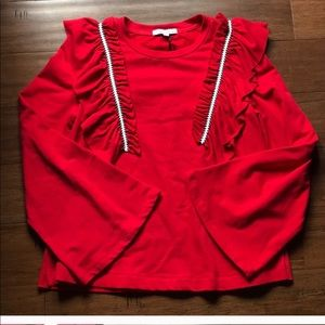 NWT Anthropologie Moelleux Red Bell Sleeve Top